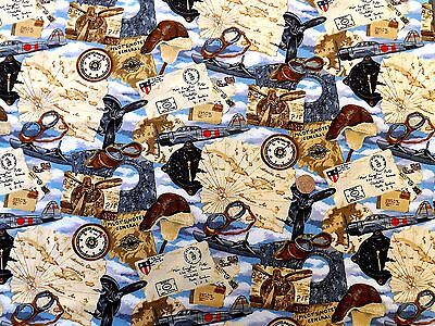 NUTEX PATCHWORK FABRIC 89050 SPACE ODYSSEY MOON LANDING