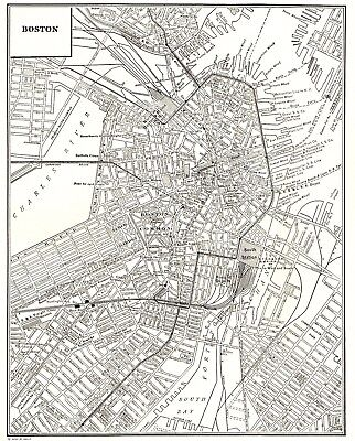 1935 Antique BOSTON Map of Boston Massachusetts Gallery Wall Home Decor #2367