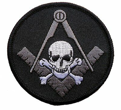 MASONIC Widows Sons Skull Bones SQUARE COMPASS  EMROIDERED  PATCH