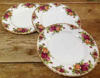 3 Salad Plates Royal Albert Old Country Roses Red Yellow England Bone China Gold