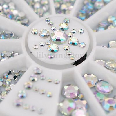 5 Size Nail Art Rhinestones Crystal Diamond Gems 3D Tips DIY Decoration Wheel