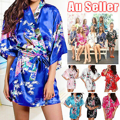 FLORAL SATIN ROBE Kimono Dressing Gown Sleepwear Wedding Bride Bridesmaid Party