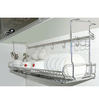 Stainless Dish Drying Fixing Rack Ladle Cup Spoon Shelf Sink Kitchen Organizer