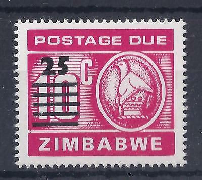 ZIMBABWE, 1990 POSTAGE DUE, 25c OVERPRINTED ON 10c, SG D33, MNH SINGLE