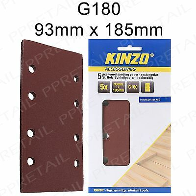 5 x Kinzo 93mm x 185mm Velcro Sanding Sheets -180 GRIT- Punched 8 Hole 1/3 Pads
