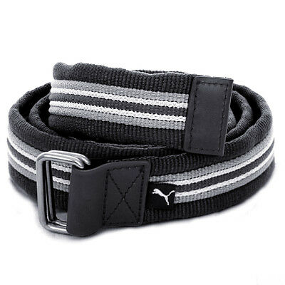 Puma Golf Mens Stripe Jacquard Web Canvas Military Style Belt - Black