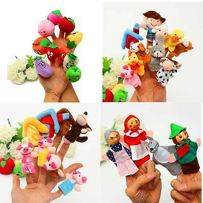 Family Finger Puppets Play Game Learn Story Cloth Doll Baby Educational Hand Toy