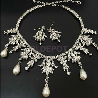 Pearl Crystal Angel Pendent Jewelry Necklace Earring Set for Wedding Bride