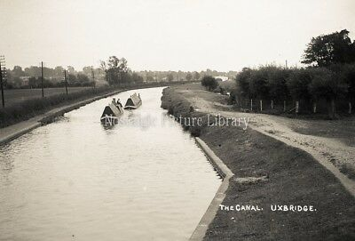 GN 623 PHOTOGRAPH CANAL, BARGE SCENE UXBRIDGE c 1914