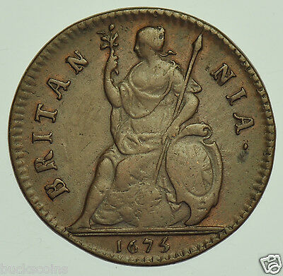 EXTREMELY RARE 1675/3 FARTHING, 5 OVER 3, BRITISH COIN FROM CHARLES II aVF