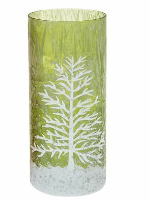 Christmas Tree Traditional Pillar Style Tall Candle Holder Frosted Green Glass