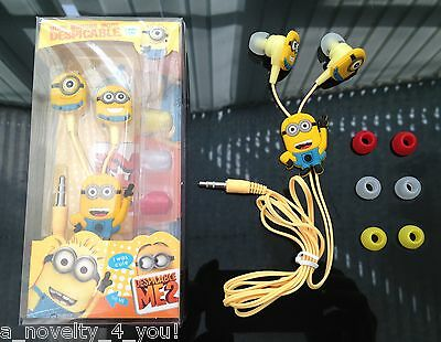 Minions Despicable Me 3.5mm In-Ear Earphones with Free Earbuds Birthday Phone
