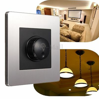 Stainless steel Rotary Light Dimmer Switch 1 Gang 300w Brightness Control Socket