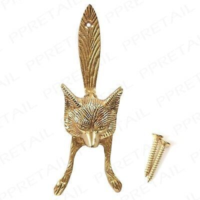 Fox Head Door Knocker SOLID BRASS Victorian Old English Style Front Main Fixings