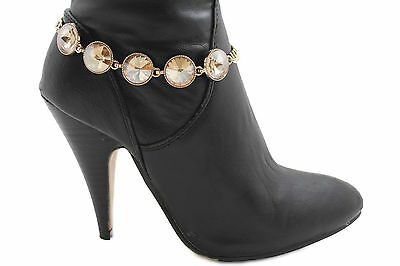 New Women Boot Bracelet Gold Metal Chain Glass Crystals Bling Anklet Shoe Charm