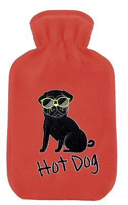 Ladies Hot Dog Fleece Hot Water Bottle and Cover