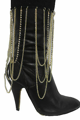Women Western Boot Bracelet Gold Metal Chain Long Drop Bling Anklet Elastic Band