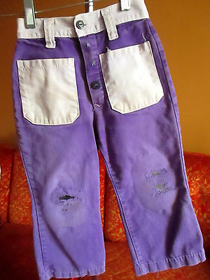 19x15 Sz 4-5 True Vtg 1960s PURPLE BOYS/GIRLS RELIC BELLBOTTOM FLARE JEANS