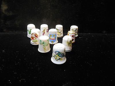Mixed Lot of 10 Bone China Thimbles *All Marked*