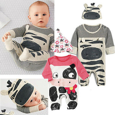 Newborn Baby Boy Girls Stripes Sleepwear Pajama Babygrow Baby Rompers Playsuit