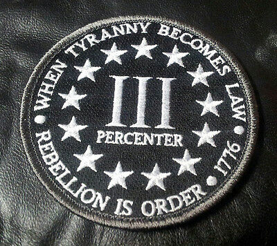 Three 3%   Percenter Rebellion  Tyranny Tactical Morale Hook Patch By Miltacusa