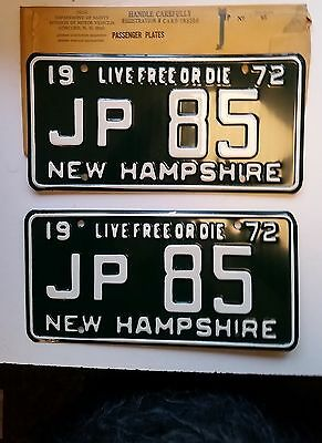 1972 New Hampshire License Plate PAIR of Tags, JP85 NH   YOM CLEAR JP85 NOS