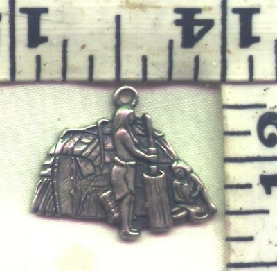 "Sterling Charm-""heritage""""michigan Indian Wigwam'"