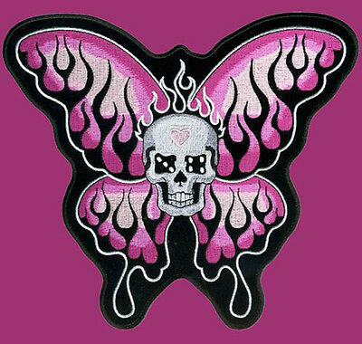 Skull Butterfly Emroidered Ladies Biker Patch