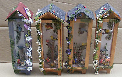 1:12 Scale Hand Made Aviary & Birds Dolls House Miniature Garden Accessory Tall