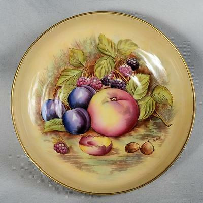 "Aynsley Signed D. Jones Footed 8-1/2"" Bowl - Fruit/nuts On Yellow, Gold Foot"