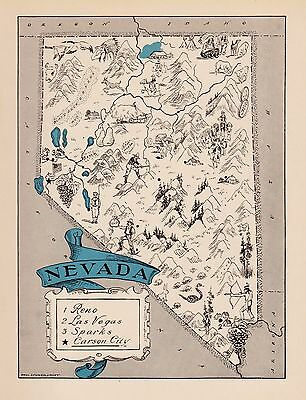 1931 Rare NEVADA Map FUN 1930s Original Pictorial Map of Nevada BLU 2403