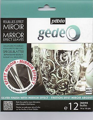 Gedeo Silver Colour Mirror Effect Metal Leaf 12 Leaves Decoration Gilding Pebeo