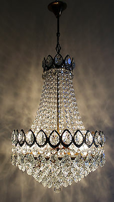 Vintage (/) Antique French Basket Style Brass &  Crystals  Chandelier Lamp