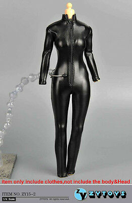 """ZY Toys Female Clothes 1/6 Black Jumpsuit Siamese Leather Corsetry F 12"""" figure"""