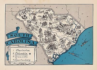 Rare SOUTH CAROLINA Map FUNKY 1930s Pictorial Map Whimsical Map BLU 2422