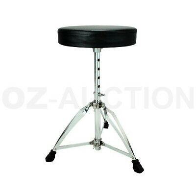 Adjustable Padded Seat Drum Piano Throne Stool Stand Drummers Heavy Duty Black