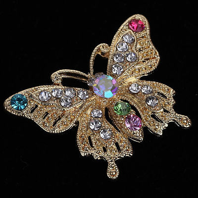 Vintage Butterfly Brooch Pin Gold Plated Crystal Rhinestone Women Jewelry Gift