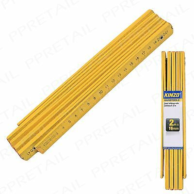 4 Large Portable Metric Wooden Yellow Ruler 2M FOLDING RULE Long Measuring Tool