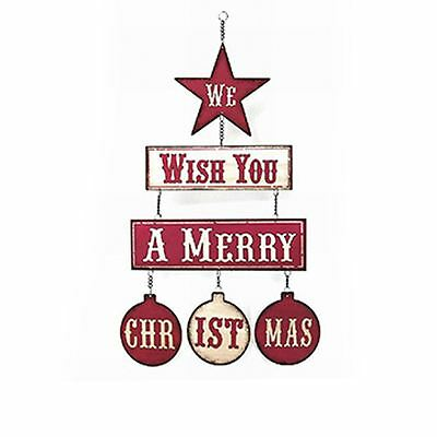 Lesser & Pavey Retro We Wish You A Merry Christmas Wall Hanging Metal Plaque