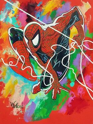 70% Sale Spiderman 24 X 18 Fine-Art Canvas & 3 Free Prints Signed By Winford