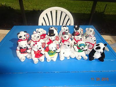 Coca Cola Coke BRAND PLUSH Bean Bag STUFFED ANIMALS COKE BOTTLE LOT 17