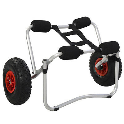 Aluminum Kayak Canoe Boat Trolley Carrier Dolly Transport Cart With Strap