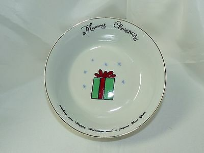 Merry Brite China Christmas Holiday Soup Cereal Bowl Christmas Present 6-1/2""