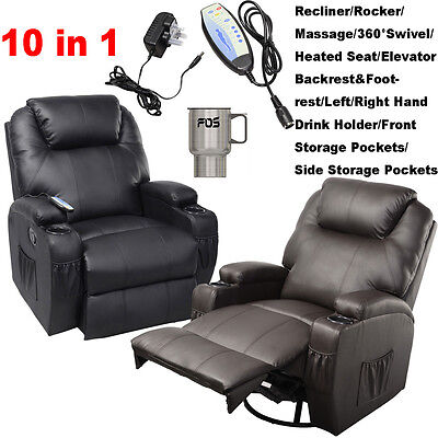 FDS Leather Recliner Massage Chair Swivel Functional Heated Rocking Sofa 10 in 1