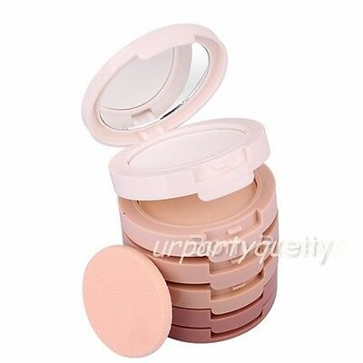 5 in 1 Magic Foundation Compact Concealer Highlight Finish Face Powder Makeup