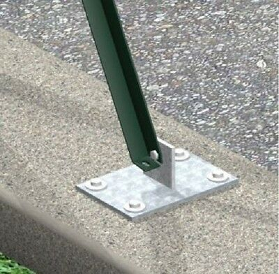 galvanized support with footplate for diagonal post (25x25x3) wire mesh fence