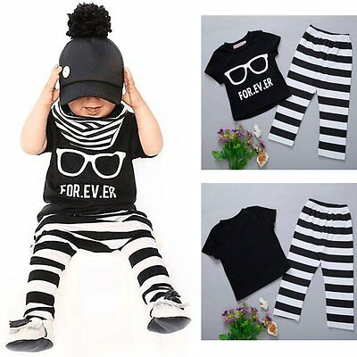 2pcs Newborn Toddler Baby Infant Boy Girls Outfit T-shirt Tops+Pants Clothes Set
