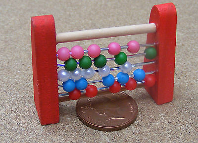 1:12th Scale Moving Wooden Abacus Dolls House Miniature Nursery Toy Accessory