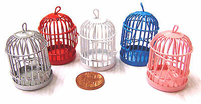 1:12 Empty Metal Painted Bird Cage Dolls House Miniature Pet Accessory