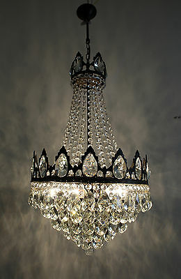 Vintage Large Antique French Basket Style Brass &  Crystals  Chandelier Lamp